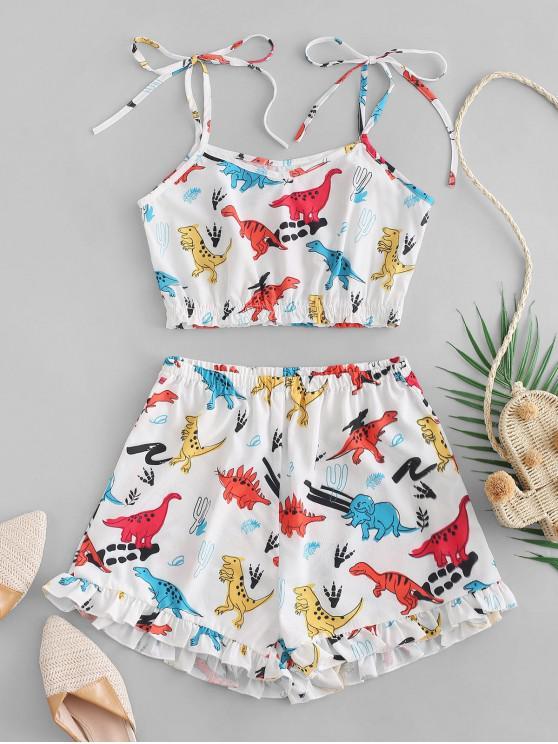 shops ZAFUL Dinosaur Cami Top And Ruffles Shorts Set - WHITE M