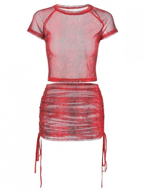 trendy Snakeskin Print Cinched Mesh Skirt Set - CHESTNUT RED S
