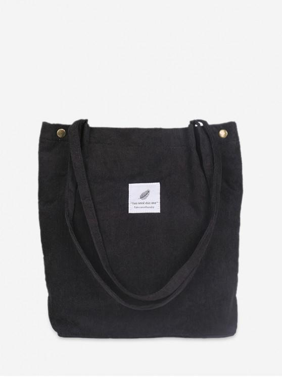 fancy Canvas Simple Tote Bag - BLACK