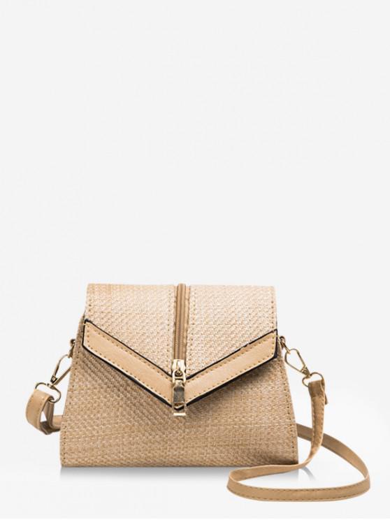 shop Chevron Flap Straw Shoulder Bag - CAMEL BROWN