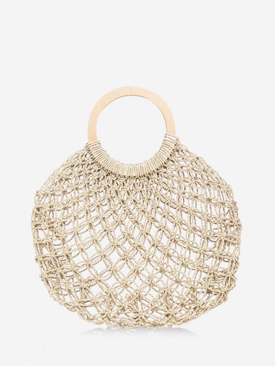 fashion Fishing Net Woven Straw Handbag - BEIGE