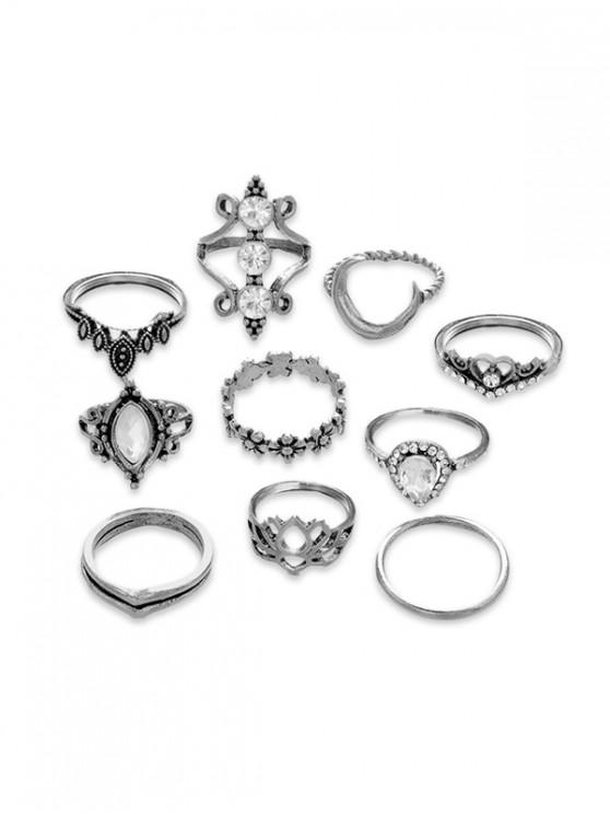 womens 10Pcs Floral Moon Vintage Ring Set - SILVER