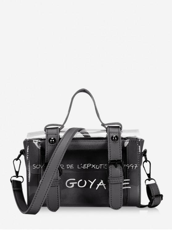 women Transparent Letter Graphic Buckled Crossbody Bag - BLACK