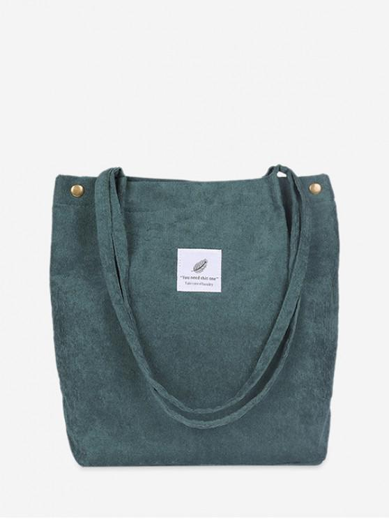 lady Canvas Simple Tote Bag - DARK GREEN