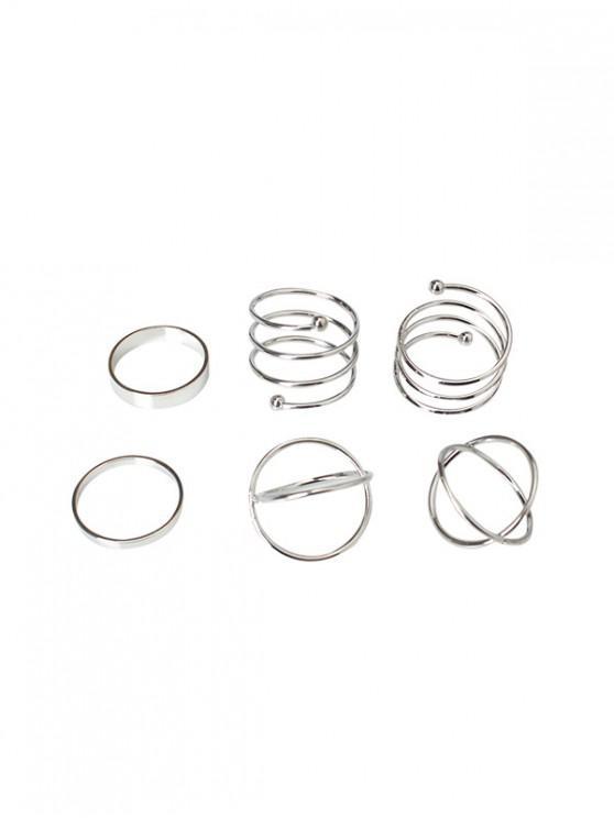 online 6Pcs Brief Cross Spiral Ring Set - SILVER