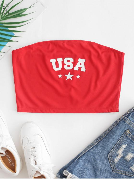 outfit ZAFUL Stars American Flag Bandeau Top - RUBY RED M