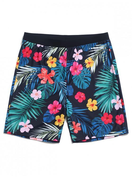 Shorts de natación de playa con estampado de flores de plantas tropicales - Verde de Mar  XL