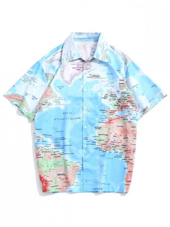 outfit World Map Graphic Print Short Sleeves Button Shirt - DEEP SKY BLUE XL