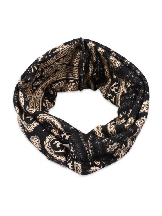 Venda principal bohemia impresa floral de la tela - Negro