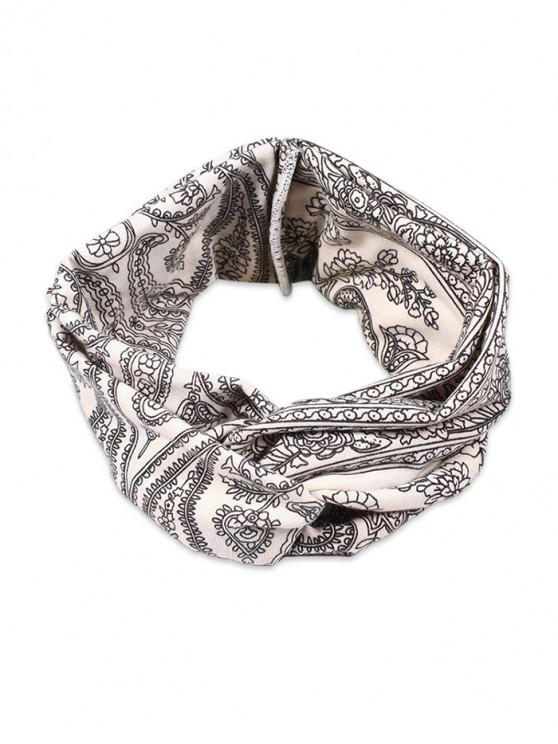 women Bohemian Floral Printed Fabric Head Band - WHITE