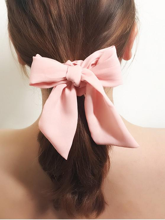 lady Solid Color Bowknot Ponytail Hair Scrunchie - PINK