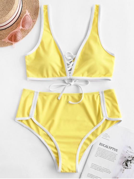 ZAFUL Contrast Piping Lace Up Bikini reversible Bikini - Amarillo de Maíz S