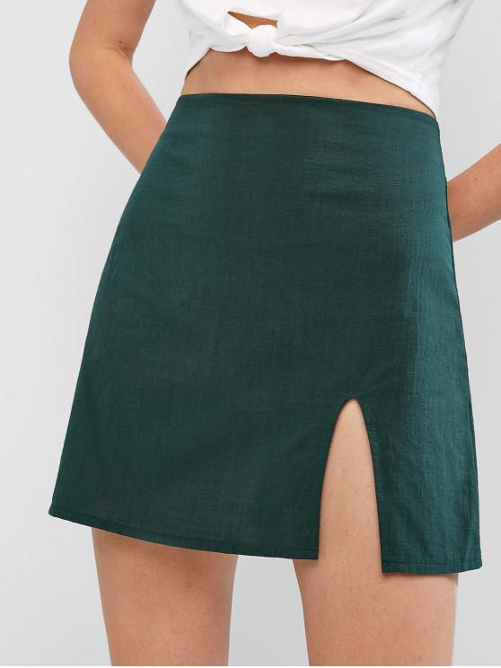Slit A Line Solid Falda - Verde S