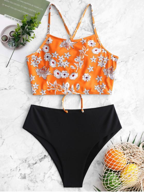 ZAFUL Flower Lace Up Mix and Match Tankini Swimwear - Multi Colori-A 2XL