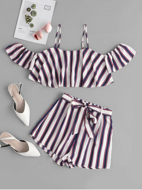 outfits ZAFUL Striped Cold Shoulder Cami Belted Shorts Set - WHITE L