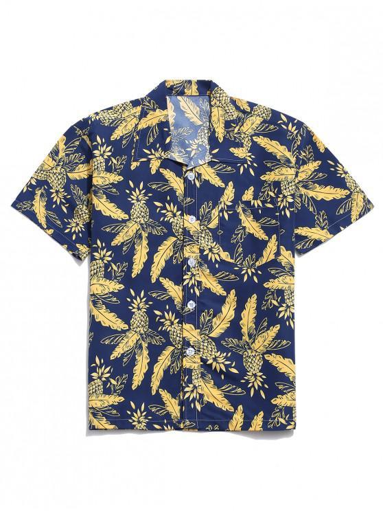hot Tropical Leaf Pineapple Print Notched Beach Shirt - CADETBLUE L