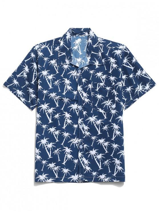 Camisa de playa de Hawaii con estampado de palmeras - Cadetblue XS