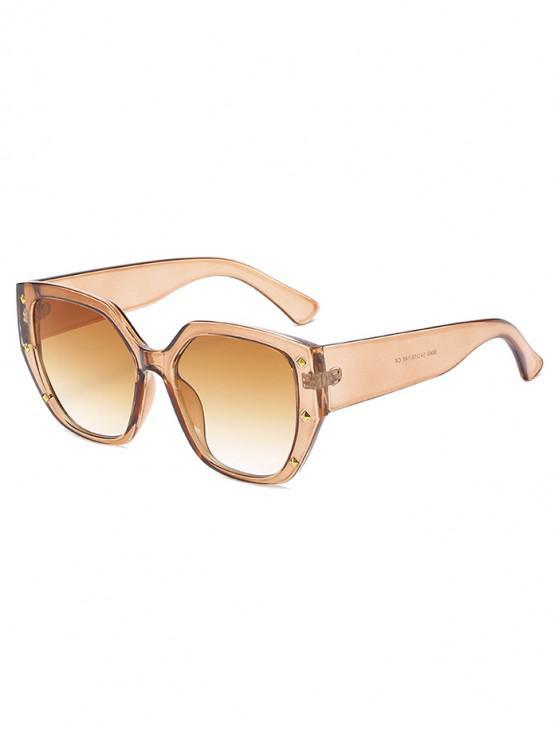 fashion Rivet Ombre Wide Rim Square Sunglasses - MAHOGANY