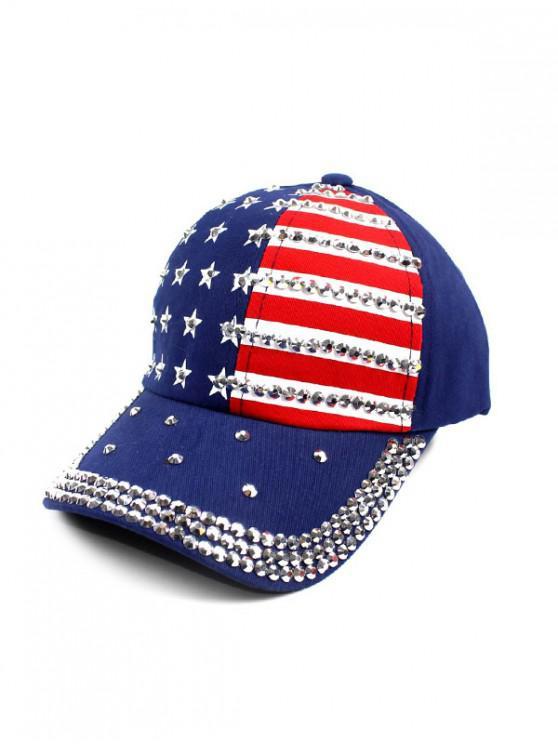 Gorra de beisbol con estampado de bandera americana - Azul Océano