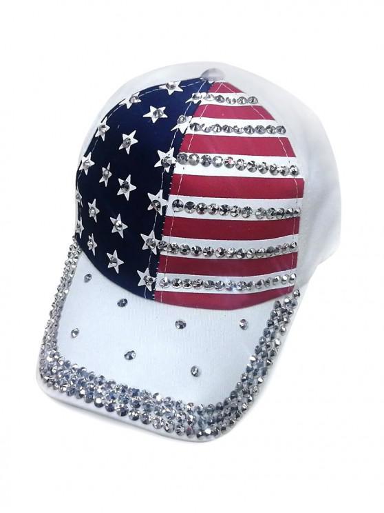 Gorra de beisbol con estampado de bandera americana - Blanco
