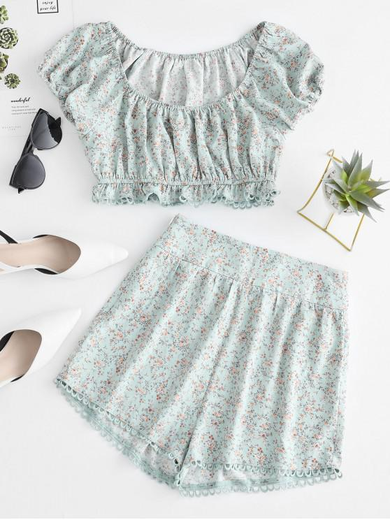 ladies ZAFUL Ditsy Print Scalloped Two Piece Set - CYAN OPAQUE M