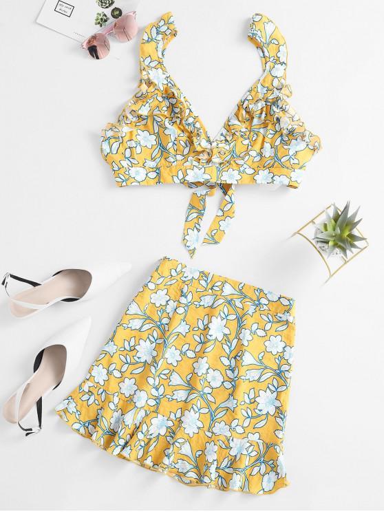 ZAFUL vestido de dos piezas con volantes florales - Azafrán M
