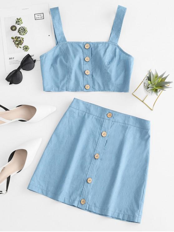 women's ZAFUL Button Up Chambray Two Piece Dress - PASTEL BLUE M