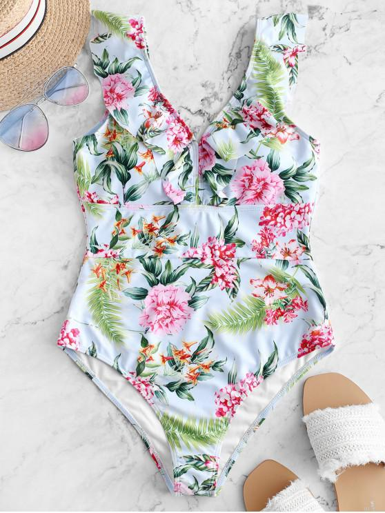 lady ZAFUL Flower Leaf Print Ruffle Plunging Swimsuit - MULTI-A S