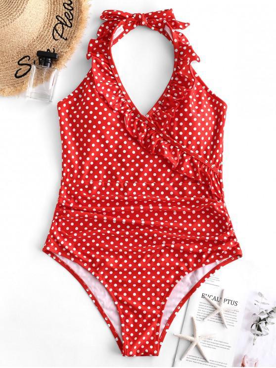 best ZAFUL Halter Ruffle Polka Dot One-piece Swimsuit - LAVA RED L