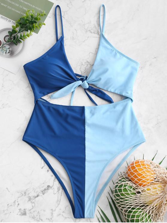 trendy ZAFUL Tied Color Block Cami Monokini Swimsuit - COBALT BLUE L