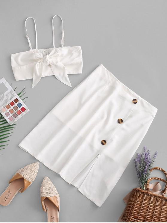 fashion ZAFUL Bow Knot Cami Crop Top And Front Slit Pencil Skirt - WHITE M