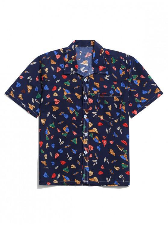 outfits Leaves Print Casual Beach Shirt - CADETBLUE L