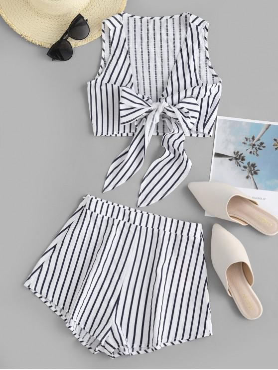 shops ZAFUL Striped Print Knotted Crop Top and Mini Shorts Set - WHITE L
