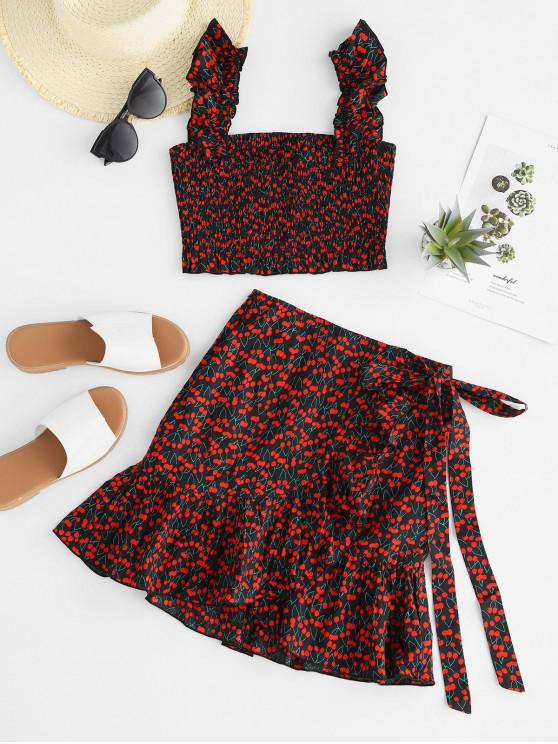 sale ZAFUL Cherry Print Shirred Crop Top and Mini Overlay Shorts Set - RED M
