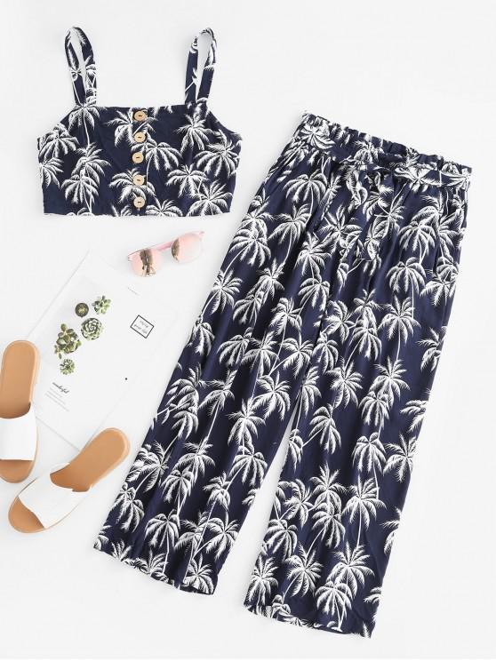 buy ZAFUL Coconut Tree Print Crop Top and Capri Paperbag Pants Set - MIDNIGHT BLUE L