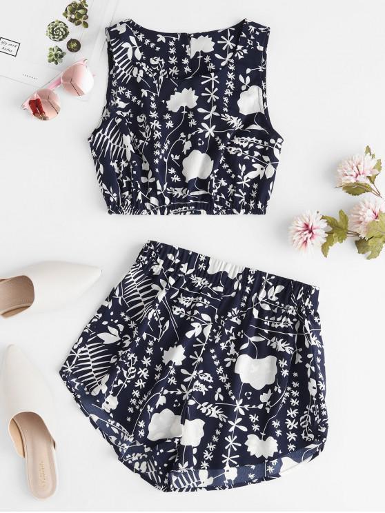 womens ZAFUL Leaf Print Keyhole Back Sleeveless Shorts Set - MIDNIGHT BLUE M