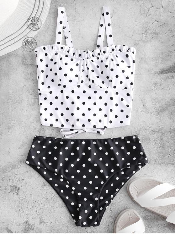ladies ZAFUL Polka Dot Ruffle Lace Up Tankini Swimsuit - MULTI-A L