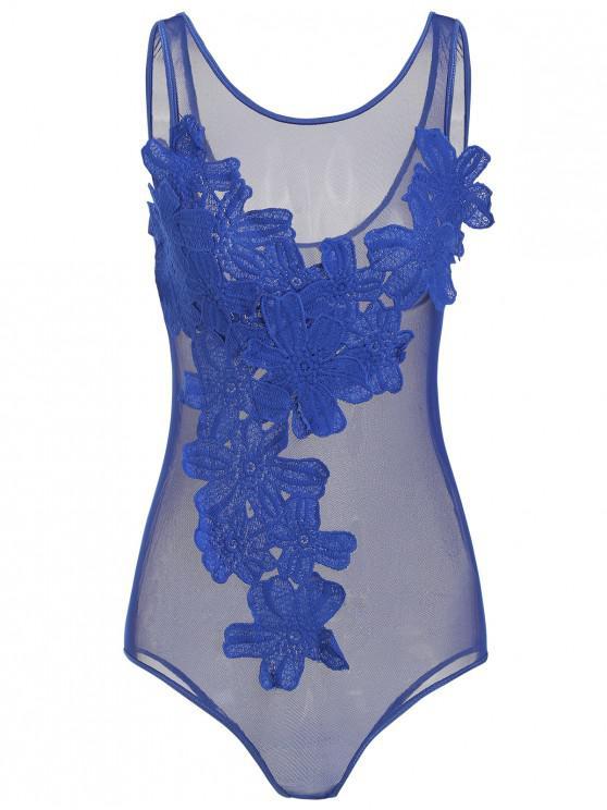 Apliques de encaje pura malla de peluche - Azul de Arándanos M
