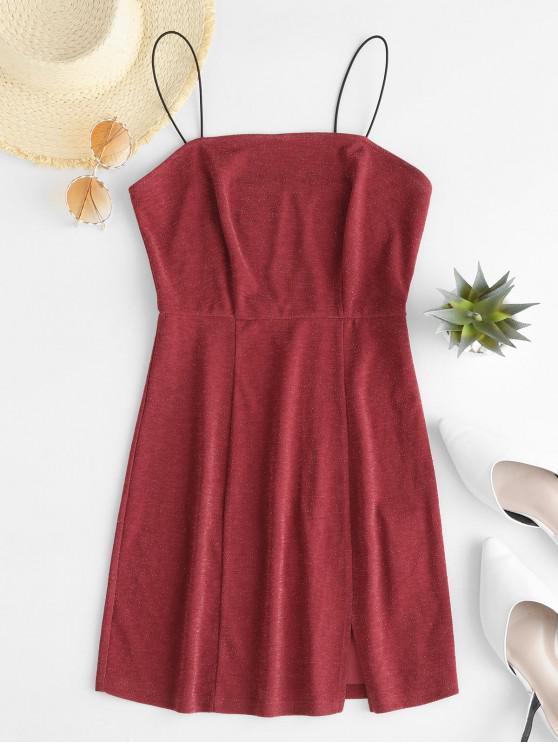 ZAFUL Glitter Cami Slit Mini Dress - Rosso Ciliegia M