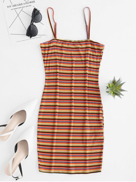 trendy ZAFUL Ribbed Striped Cami Bodycon Mini Dress - MULTI-A S