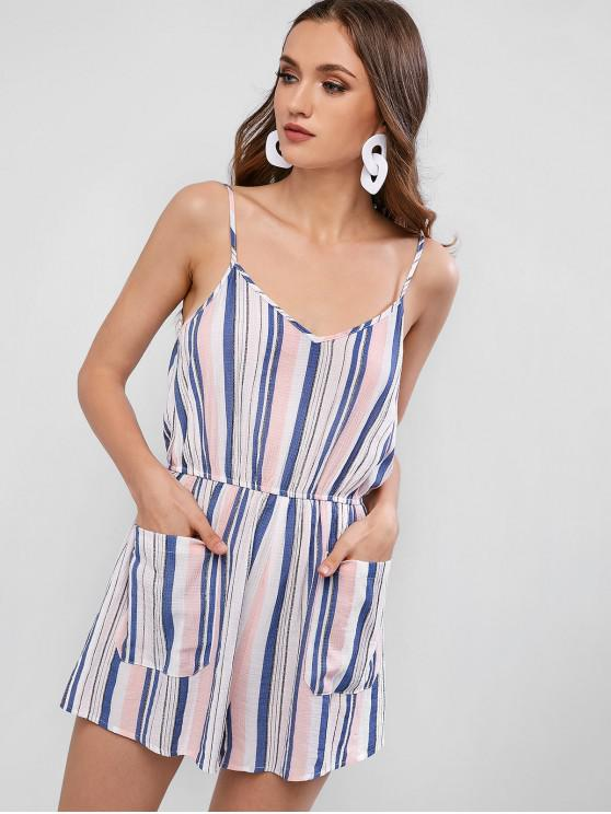 fancy Double Pockets Spaghetti Strap Stripe Print Playsuit - LIGHT PINK M