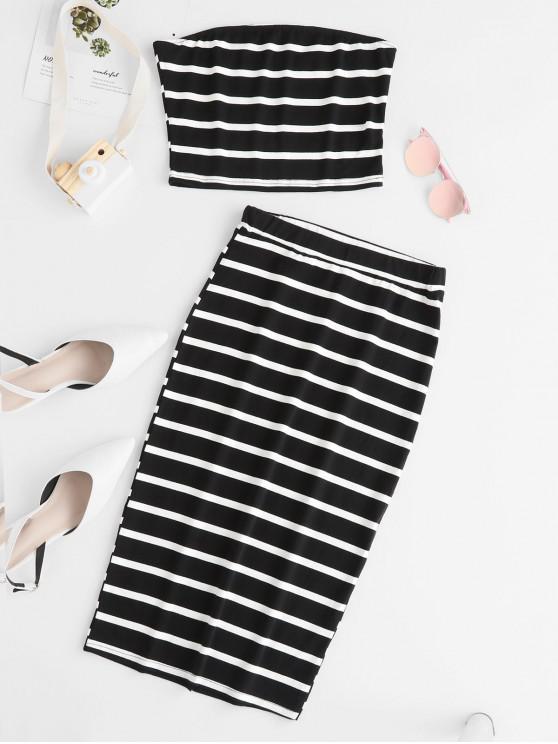 buy ZAFUL Striped Bandeau Top And Slit Skirt Set - BLACK XL