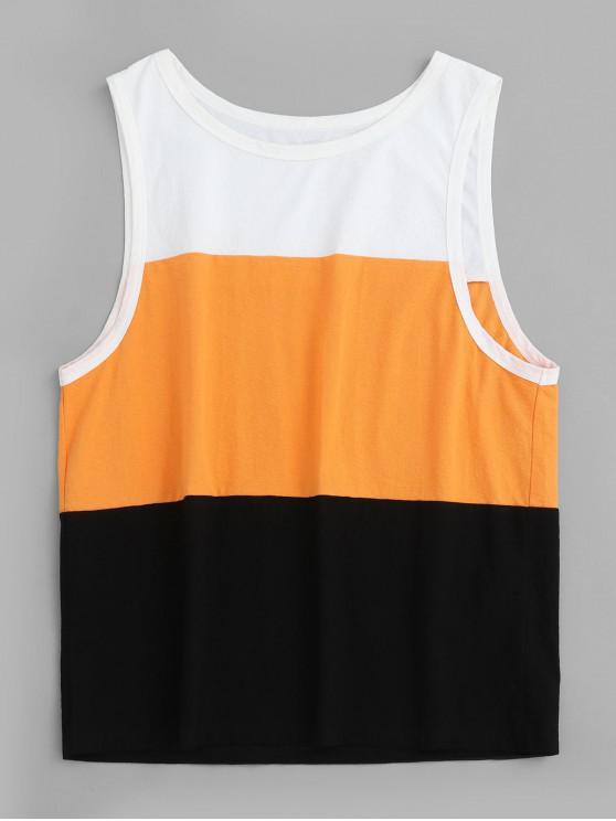 new ZAFUL Color Block Drop Armhole Casual Tank Top - BEE YELLOW L