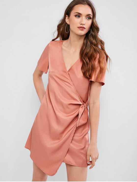 affordable ZAFUL Knot Side Plunge Neck Mini Dress - DARK SALMON M