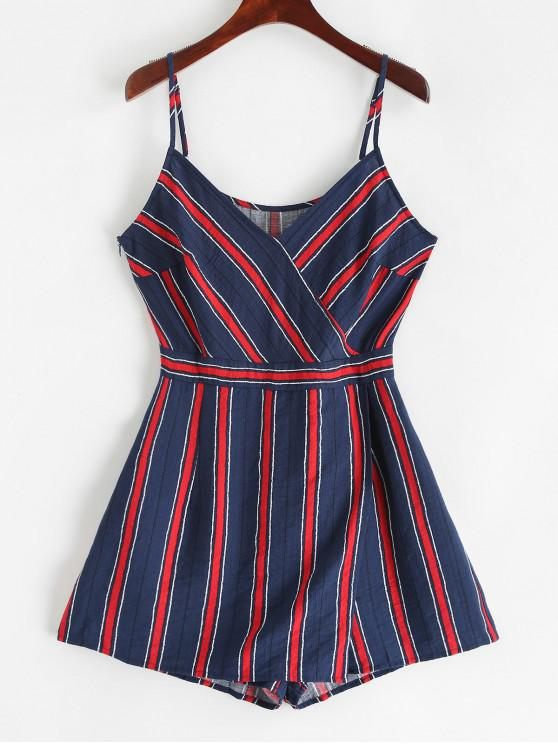 sale ZAFUL Spaghetti Strap Striped Print Overlap Romper - CADETBLUE L