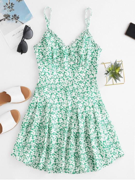 hot ZAFUL Floral Print Knot Front Cut Out Mini Dress - LIGHT SEA GREEN L