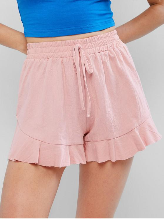 ladies Ruffle Hem Knotted Solid Shorts - PIG PINK XS