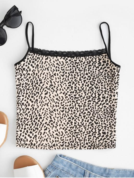 Painel de renda recortada Leopard Cami Top - Leopardo S