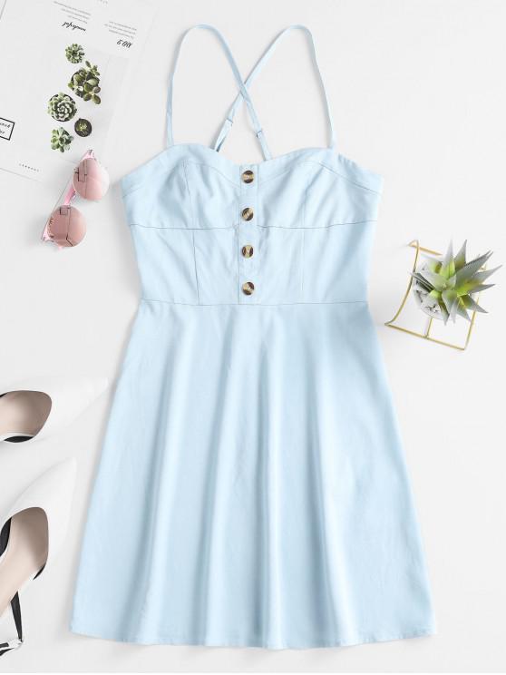 shops ZAFUL Button Crisscross Cami Dress - DENIM BLUE S