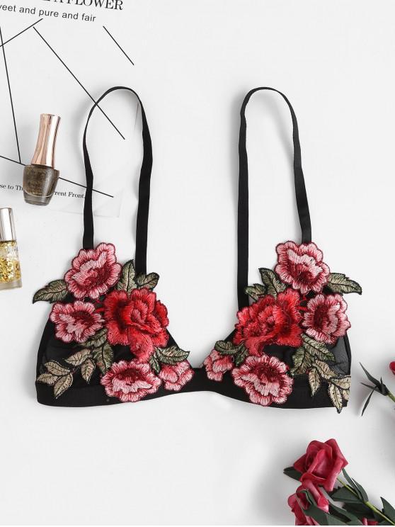 online Floral Patched Backless Crop Cami Top - BLACK L